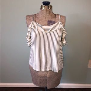 American Eagle Striped Off the Shoulder Blouse